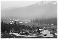 Seasonal ponds and fog, Tuolumne Meadows. Yosemite National Park ( black and white)