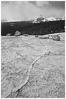 Granite slab and Cathedral Peak. Yosemite National Park ( black and white)