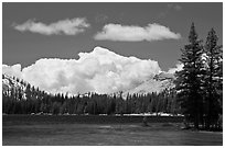 Tenaya Lake and clouds. Yosemite National Park, California, USA. (black and white)
