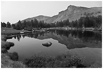 Mt Dana shoulder reflected in tarn at dusk. Yosemite National Park, California, USA. (black and white)