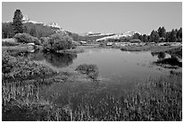 Tuolumne River and distant domes, early morning. Yosemite National Park, California, USA. (black and white)