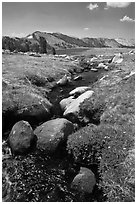 Boulders, stream, and lower Gaylor Lake. Yosemite National Park ( black and white)