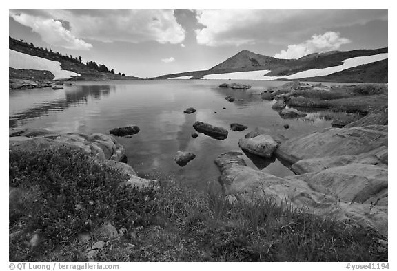 High alpine basin with Gaylor Lake. Yosemite National Park (black and white)