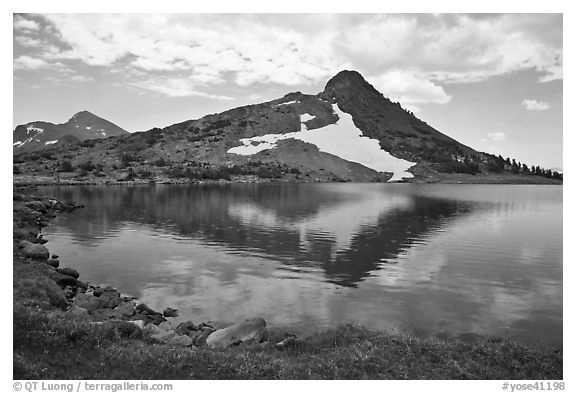 Peak reflected in uppper Gaylor Lake. Yosemite National Park (black and white)