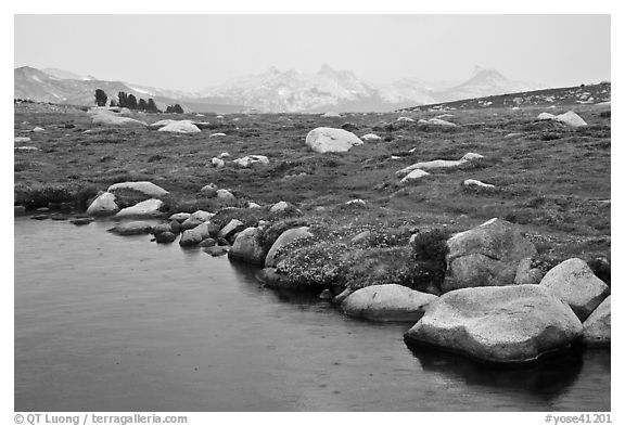 Shore of Gaylor Lake and Cathedral range. Yosemite National Park (black and white)