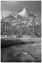 Cathedral Peak with storm light. Yosemite National Park, California, USA. (black and white)