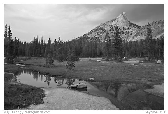 Stream, meadow, and Cathedral Peak, afternoon. Yosemite National Park (black and white)
