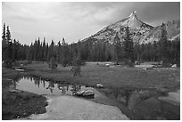 Stream, meadow, and Cathedral Peak, afternoon. Yosemite National Park ( black and white)
