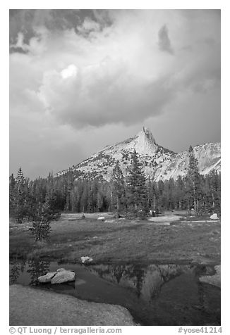 Meadow, Cathedral Peak, and clouds. Yosemite National Park (black and white)