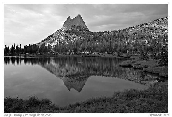 Cathedral Peak reflected in upper Cathedral Lake, late afternoon. Yosemite National Park (black and white)