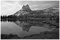 Cathedral Peak reflected in upper Cathedral Lake, late afternoon. Yosemite National Park ( black and white)