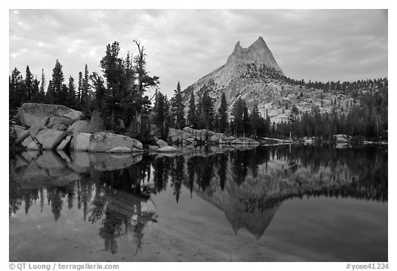 Upper Cathedral Lake and Cathedral Peak at dusk. Yosemite National Park (black and white)
