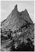 Spires on Cathedral Peak at sunset. Yosemite National Park ( black and white)