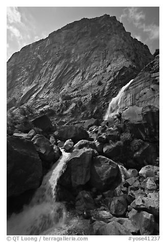 Wapama falls and rock wall, late summer afternoon. Yosemite National Park (black and white)