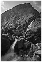 Wapama falls and rock wall, late summer afternoon. Yosemite National Park ( black and white)