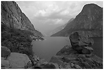 Reservoir and Kolana Rock, summer storm, Hetch Hetchy. Yosemite National Park ( black and white)