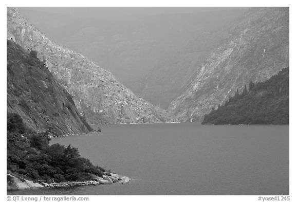 Hetch Hetchy reservoir, storm light. Yosemite National Park (black and white)