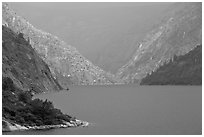 Hetch Hetchy reservoir, storm light. Yosemite National Park ( black and white)