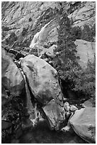 Pool and Wapama Falls, Hetch Hetchy. Yosemite National Park ( black and white)