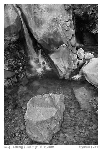 Boulder and emerald waters in pool, Wapama Falls, Hetch Hetchy. Yosemite National Park (black and white)