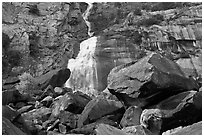 Boulders, tree and Wapama Falls, Hetch Hetchy. Yosemite National Park ( black and white)