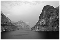 Kolana Rock and Hetch Hetchy reservoir, afternoon. Yosemite National Park ( black and white)