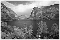 Hetch Hetchy reservoir in the summer. Yosemite National Park ( black and white)
