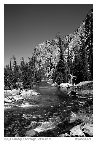 Tuolumne river on its way to  Canyon of the Tuolumne. Yosemite National Park (black and white)