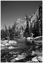 Tuolumne river on its way to  Canyon of the Tuolumne. Yosemite National Park, California, USA. (black and white)