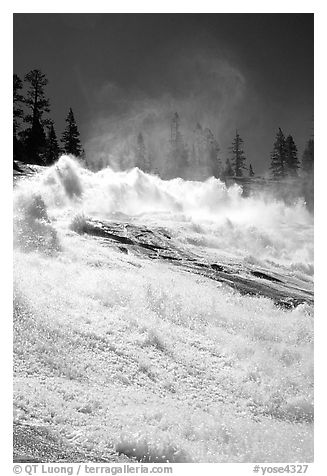 Raging waters of Waterwheel Falls, morning. Yosemite National Park, California, USA.