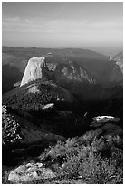 Half-Dome seen from Clouds rest, morning. Yosemite National Park, California, USA. (black and white)