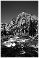 Tuolumne river on its way to the Canyon of the Tuolumne. Yosemite National Park, California, USA. (black and white)