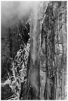 Ribbon Falls and snowy cliff. Yosemite National Park ( black and white)