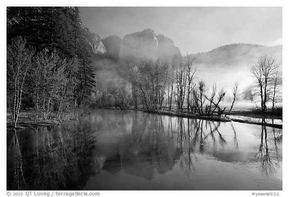 Merced River and early morning fog. Yosemite National Park (black and white)
