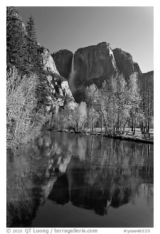 Yosemite Falls reflected in mirror-like Merced River, early spring. Yosemite National Park (black and white)