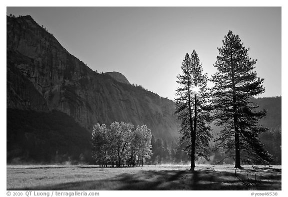 Sun and Ahwanhee Meadows in spring. Yosemite National Park (black and white)