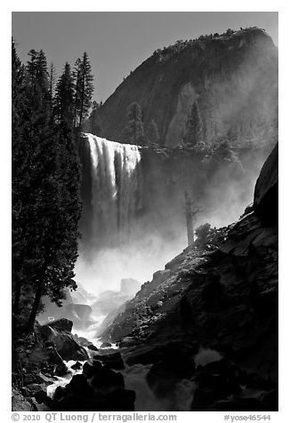 Vernal Fall with backlit mist, morning. Yosemite National Park (black and white)