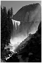 Vernal Fall with backlit mist, morning. Yosemite National Park, California, USA. (black and white)