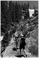 Backpackers on Mist Trail. Yosemite National Park, California, USA. (black and white)