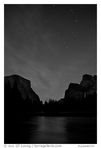 Yosemite Valley at night with stary sky. Yosemite National Park (black and white)