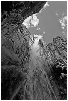 Ribbon Falls from amphitheatre. Yosemite National Park ( black and white)