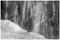 Neve at the base of Ribbon Falls. Yosemite National Park, California, USA. (black and white)