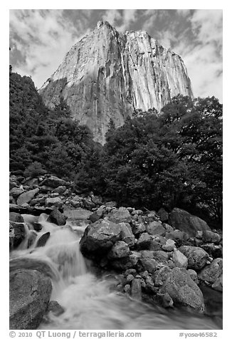 West face of El Capitan and creek. Yosemite National Park (black and white)