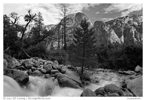 Creek flowing towards Valley and Cathedral Rocks. Yosemite National Park (black and white)