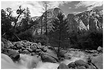 Creek flowing towards Valley and Cathedral Rocks. Yosemite National Park ( black and white)