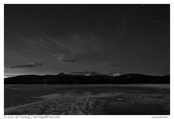 Snow-covered Twolumne Meadows by night. Yosemite National Park (black and white)