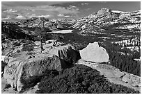 Granite outcrops and distant Tenaya Lake in the spring. Yosemite National Park ( black and white)