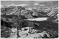 Iced-up Tenaya Lake and domes. Yosemite National Park, California, USA. (black and white)
