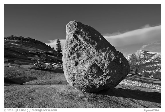 Glacial erratic on granite slabs near Olmstedt Point. Yosemite National Park (black and white)