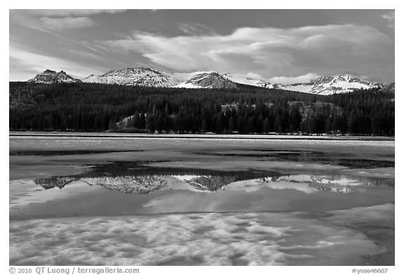 Peaks reflected in snow melt pool, Twolumne Meadows, sunset. Yosemite National Park (black and white)